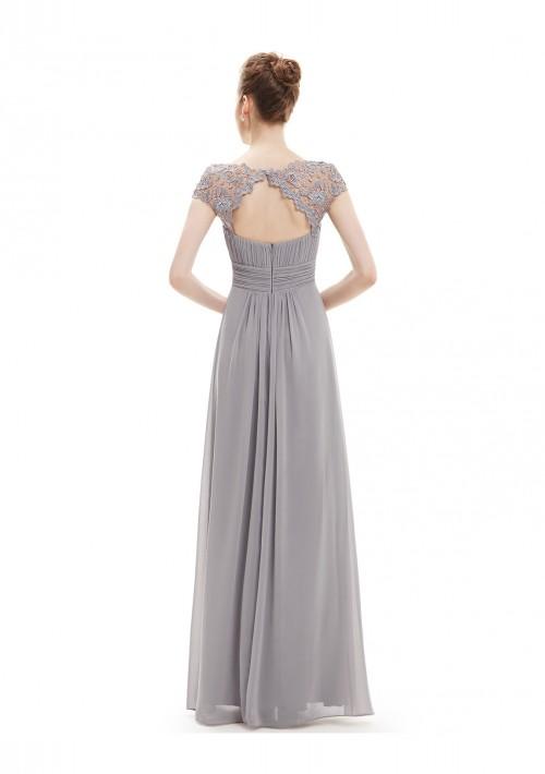 Elegantes langes Chiffon Abendkleid in Grau - schnell und günstig bei VIP Dress