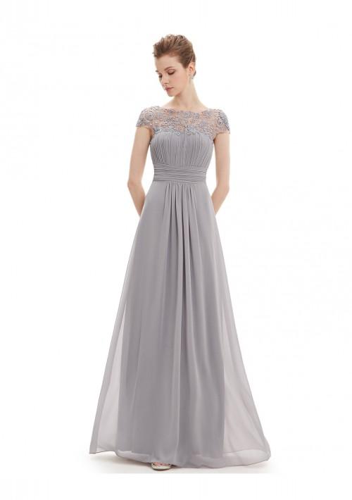Elegantes langes Chiffon Abendkleid in Grau - günstig kaufen bei vipdress.de