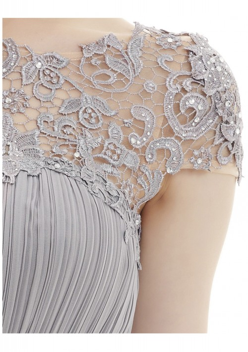 Elegantes langes Chiffon Abendkleid in Grau - hier günstig online bestellen