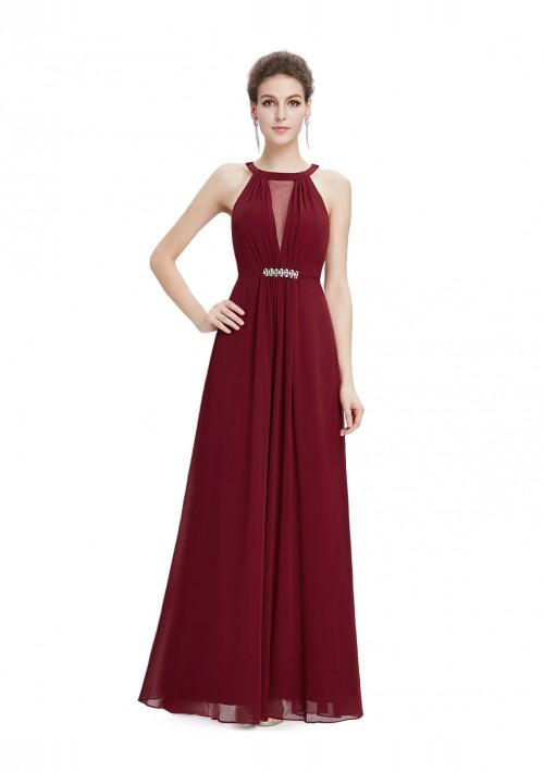 Trägerloses langes Abendkleid in verführerischem Bordeaux Rot - günstig bestellen bei VIP Dress