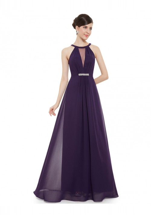 Elegantes langes Abendkleid in Lila - bei VIP Dress günstig kaufen