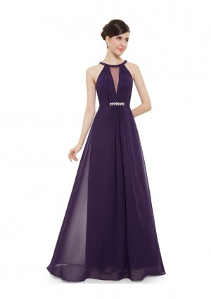 Elegantes langes Abendkleid in Lila -