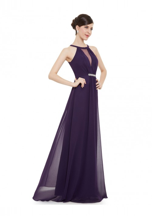 Elegantes langes Abendkleid in Lila - bei vipdress.de günstig shoppen