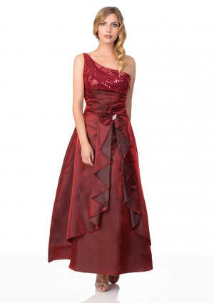 Langes Satin Abendkleid in Rot  -