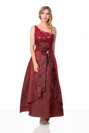 Langes Satin Abendkleid in Rot