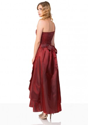 Langes Satin Abendkleid in Rot  - bei VIP Dress online bestellen