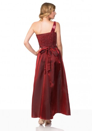 Langes Satin Abendkleid in Rot  - bei vipdress.de günstig shoppen