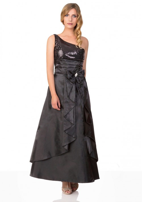 Langes Satin Abendkleid in Schwarz  - günstig bestellen bei VIP Dress