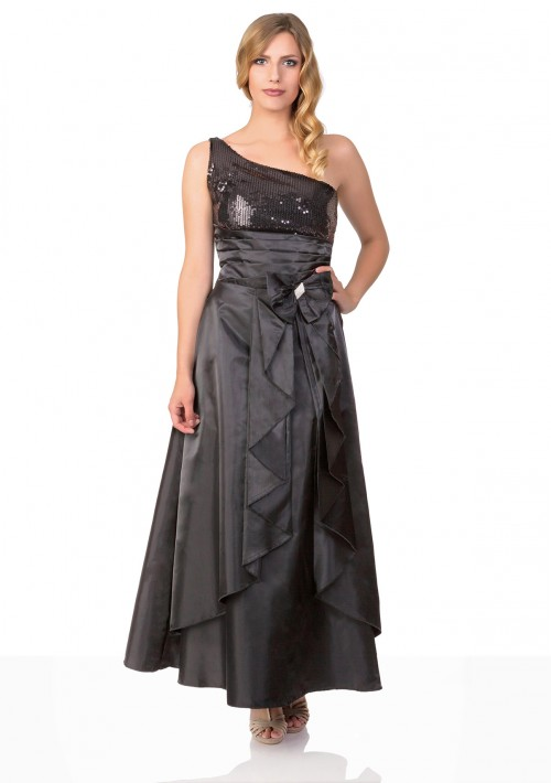 Langes Satin Abendkleid in Schwarz  - günstig bei VIP Dress
