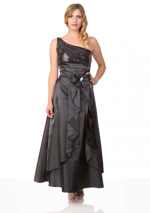 Langes Satin Abendkleid in Schwarz  -