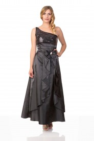 Langes Satin Abendkleid in Schwarz