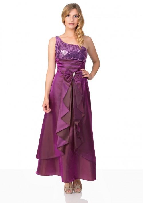 Lila Satin Abendkleid mit Raffungen - günstig bei VIP Dress