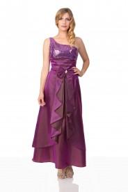 Lila Satin Abendkleid mit Raffungen