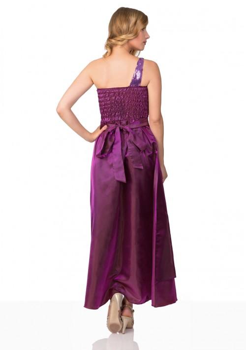 Lila Satin Abendkleid mit Raffungen - günstig bestellen bei VIP Dress