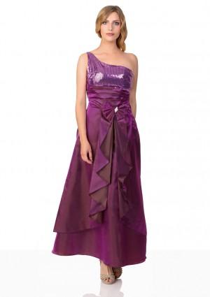 Lila Satin Abendkleid mit Raffungen - bei VIP Dress online bestellen