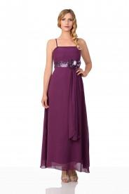 Langes Abendkleid in lila Tüll und Satin mit Paillettenschleife