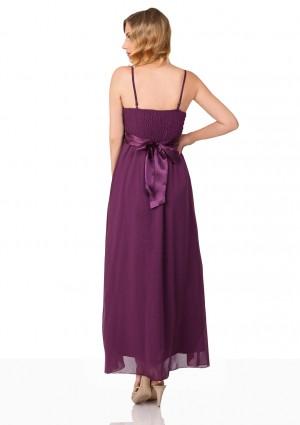 Langes Abendkleid in lila Tüll und Satin mit Paillettenschleife - hier günstig online bestellen