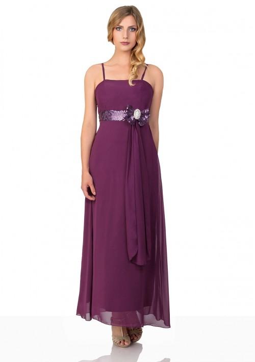 Langes Abendkleid in lila Tüll und Satin mit Paillettenschleife - günstig bestellen bei VIP Dress
