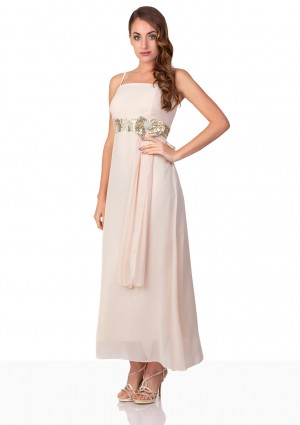 Beiges Satin Abendkleid mit Paillettenband - bei VIP Dress online bestellen