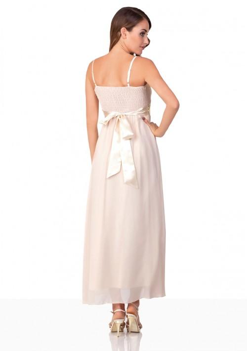 Beiges Satin Abendkleid mit Paillettenband - hier günstig online bestellen