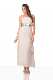 Beiges Satin Abendkleid mit Paillettenband