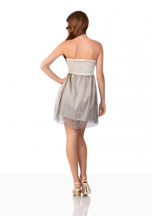 Beiges Cocktailkleid mit glitzerndem Chiffon - bei VIP Dress online bestellen
