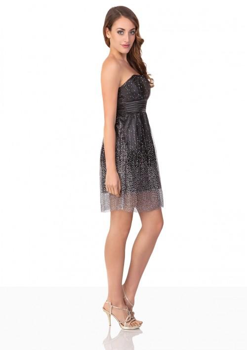 Schwarzes Abendkleid mit kurzem Schnitt - günstig bestellen bei VIP Dress