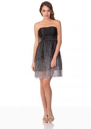 Schwarzes Abendkleid mit kurzem Schnitt - bei VIP Dress online bestellen