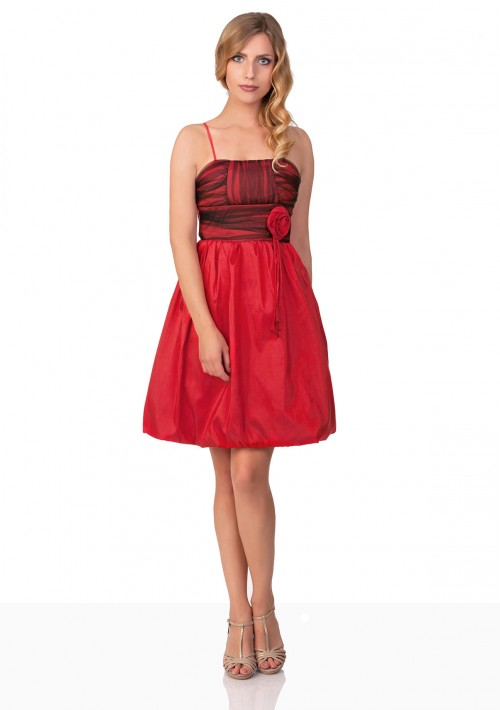 Satin Cocktailkleid im Ballonschnitt in Rot - bei VIP Dress online bestellen