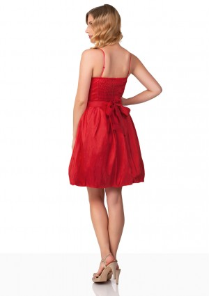 Satin Cocktailkleid im Ballonschnitt in Rot - bei VIP Dress online bestellen