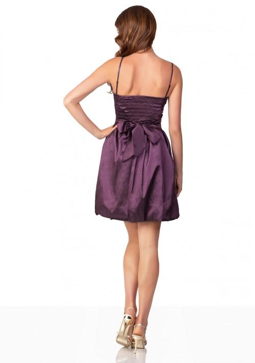 Lila Cocktailkleid mit Ballonschnitt und Dekoblume - bei VIP Dress günstig kaufen