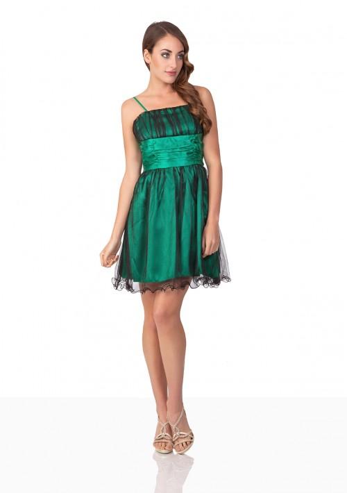 Kurzes Abiballkleid in Grün mit Schleife und Raffungen - schnell und günstig bei VIP Dress