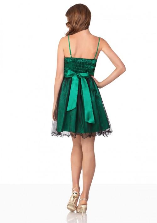 Kurzes Abiballkleid in Grün mit Schleife und Raffungen - günstig bei VIP Dress
