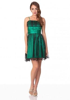 Kurzes Abiballkleid in Grün mit Schleife und Raffungen - hier günstig online bestellen