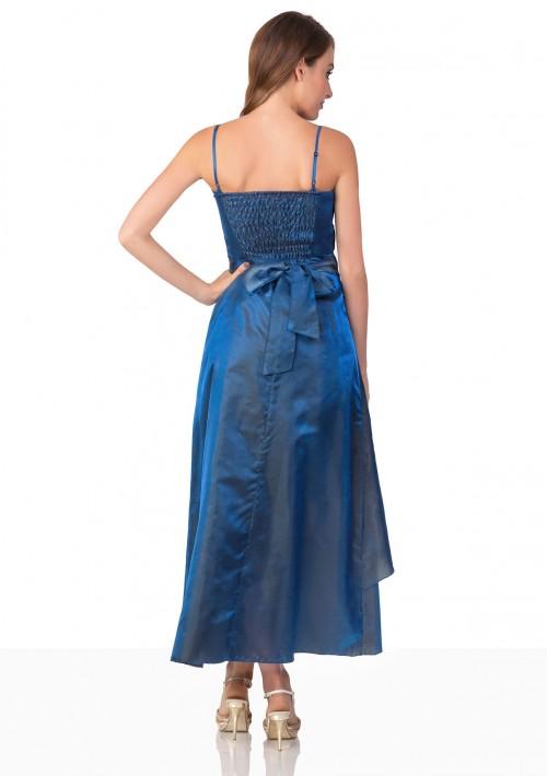 Langes Abendkleid in Blau mit Deko-Blumen und Schleifen - schnell und günstig bei VIP Dress
