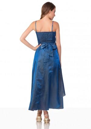 Langes Abendkleid in Blau mit Deko-Blumen und Schleifen - günstig shoppen bei vipdress.de