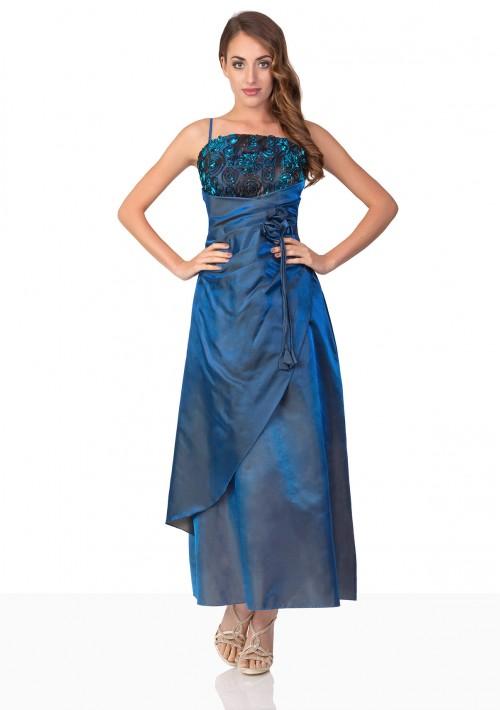 Langes Abendkleid in Blau mit Deko-Blumen und Schleifen - bei VIP Dress online bestellen