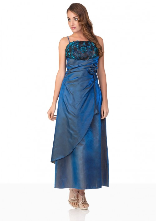 Langes Abendkleid in Blau mit Deko-Blumen und Schleifen - hier günstig online bestellen