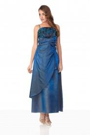 Langes Abendkleid in Blau mit Deko-Blumen und Schleifen