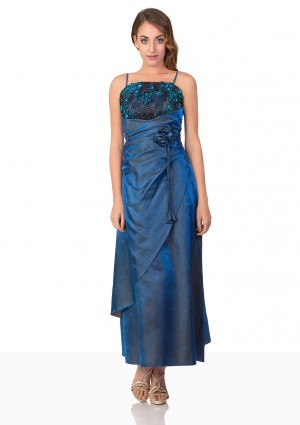 Langes Abendkleid in Blau mit Deko-Blumen und Schleifen - günstig kaufen bei vipdress.de