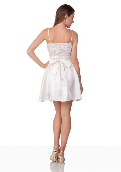 Abschlussballkleid in Cremeweiß mit Schleife - bei VIP Dress online bestellen