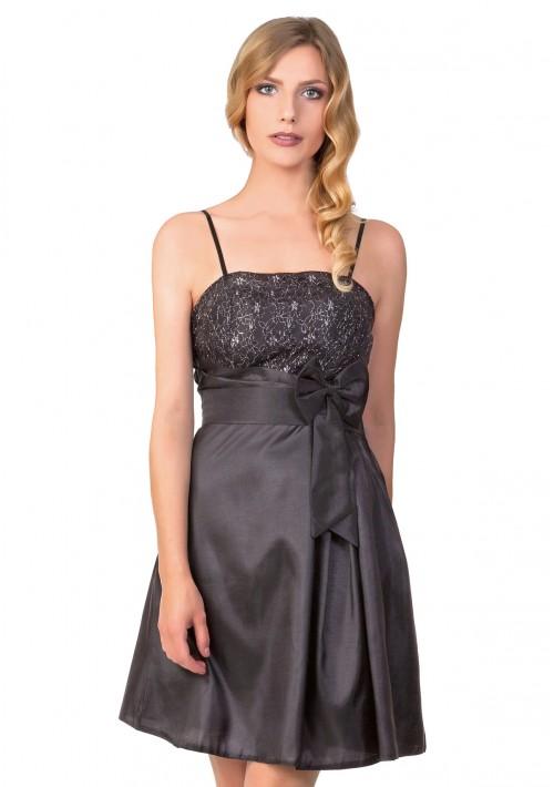 Satin-Abendkleid in Schwarz mit glänzender Verzierung - günstig bei VIP Dress