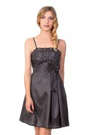 Satin-Abendkleid in Schwarz mit glänzender Verzierung