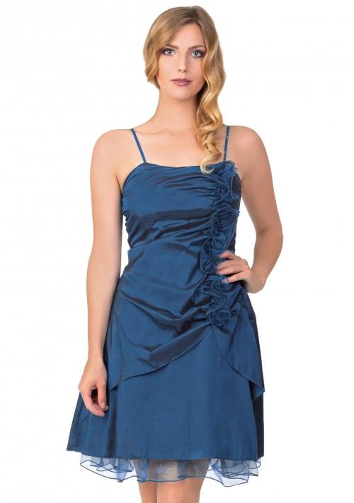 Cocktailkleid mit Rüschen in Blau - bei VIP Dress online bestellen