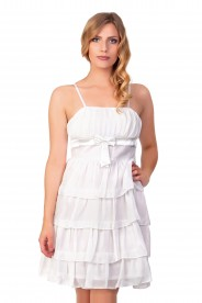 Chiffon Abendkleid im Stufenlook in Weiß