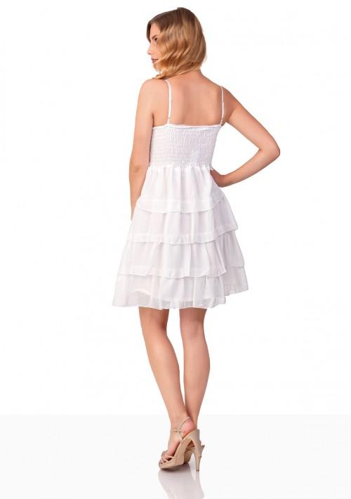 Chiffon Abendkleid im Stufenlook in Weiß - bei vipdress.de günstig shoppen