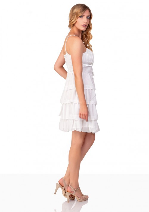 Chiffon Abendkleid im Stufenlook in Weiß - online bestellen bei vipdress.de