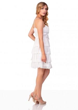 Chiffon Abendkleid im Stufenlook in Weiß - bei VIP Dress online bestellen