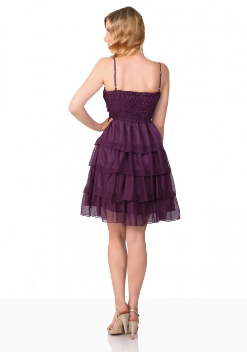 Lila Tanzkleid mit Faltenzierde und Stufenrock - günstig bestellen bei VIP Dress