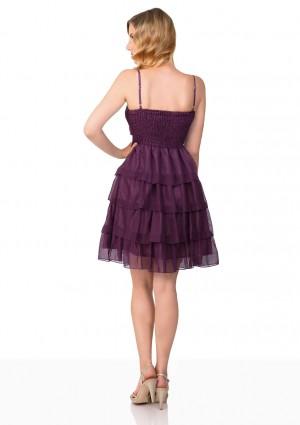 Lila Tanzkleid mit Faltenzierde und Stufenrock - bei VIP Dress online bestellen